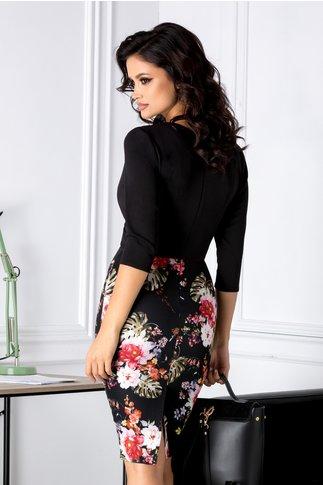 Rochie Claire neagra cu imprimeuri florale