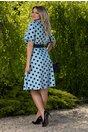 Rochie Clara bleu cu buline bleumarin si curea in talie