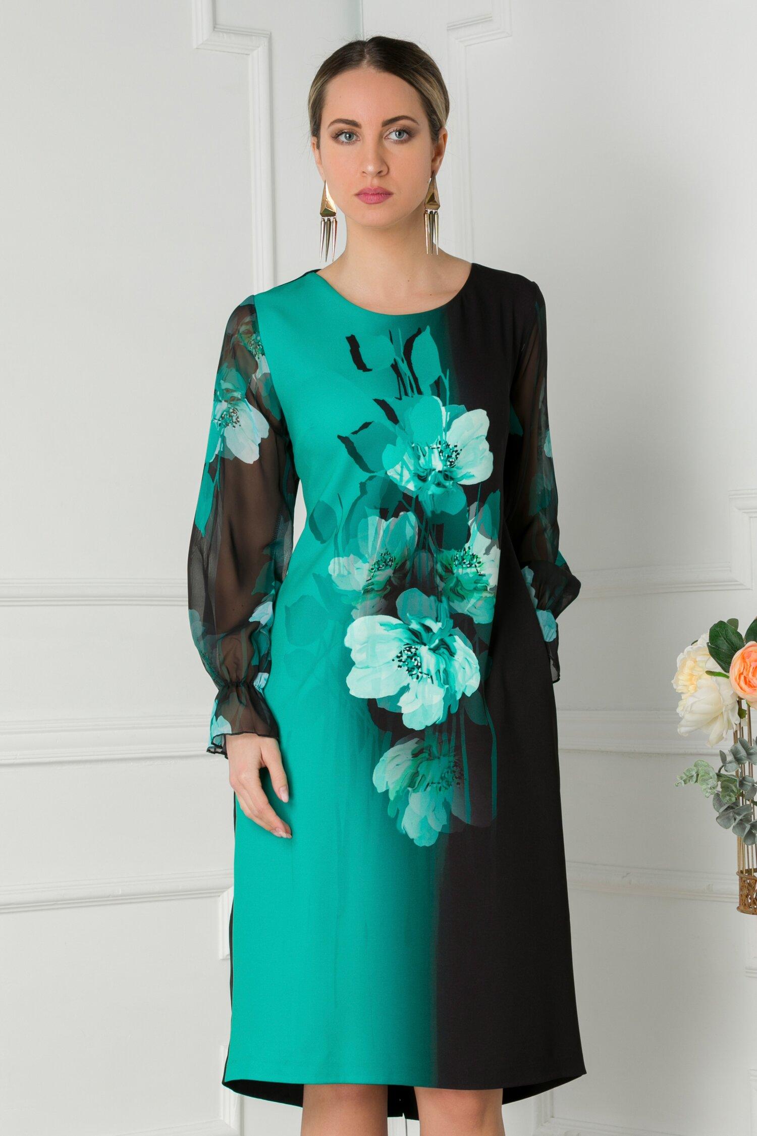 Rochie Clara neagra cu imprimeu floral turcoaz si maneci din voal