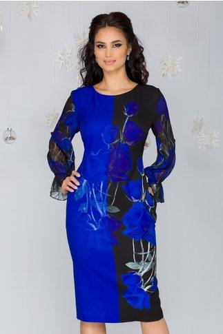 Rochie Clara negru cu albastru si imprimeu floral si maneci din voal