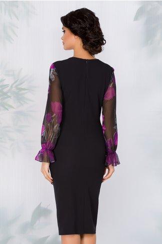 Rochie Clara negru cu mov si imprimeu floral si maneci din voal