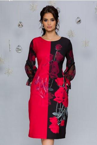 Rochie Clara negru cu rosu si imprimeu floral si maneci din voal