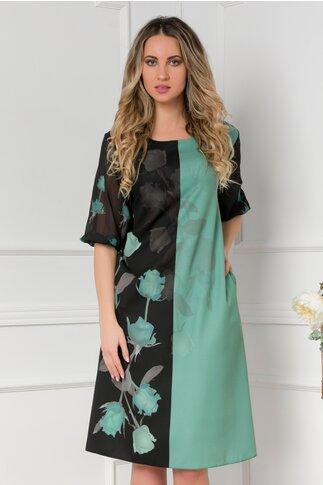 Rochie Clara negru si verde cu trandafiri si manei trei  sferturi din voal