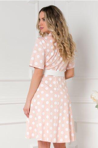 Rochie Clara roz somon cu buline bleumarin si curea in talie