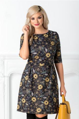 Rochie Clare bleumarin cu flori galbene