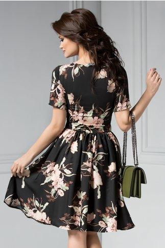 Rochie Clarisa neagra cu imprimeu roze