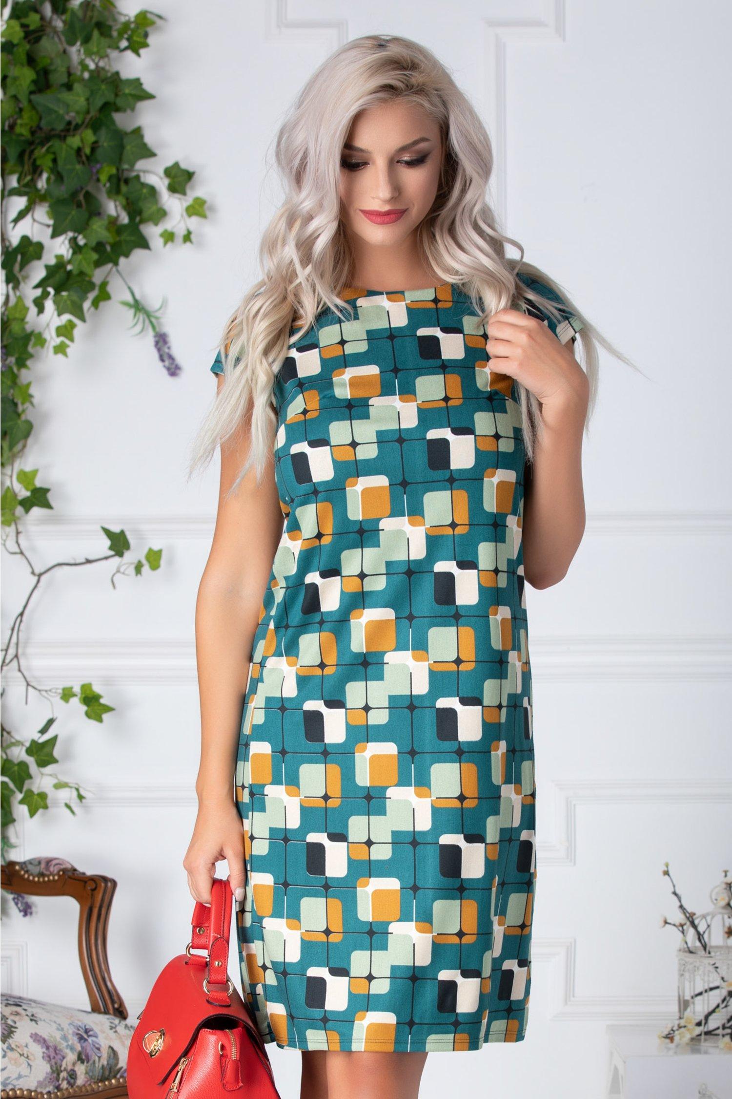Rochie Clarise de zi verde cu imprimeu geometric