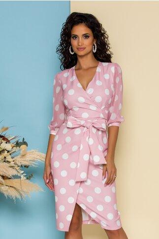 Rochie Clark roz cu buline si design petrecut