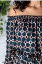 Rochie Clary lunga albastru petrol cu imprimeu bej
