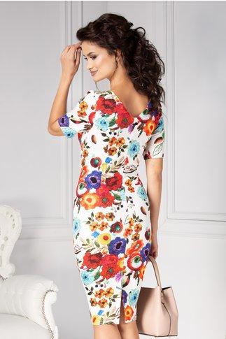 Rochie Cleo conica alba cu flori colorate elegante
