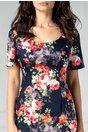 Rochie Cleo conica bleumarin cu trandafiri