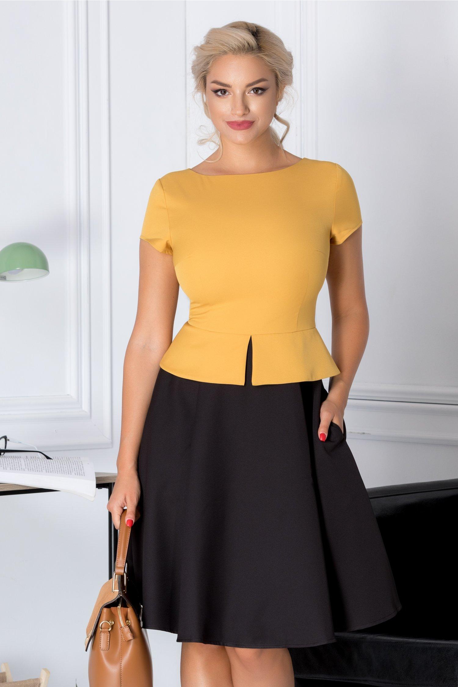 Rochie Cleo cu peplum galben cu negru