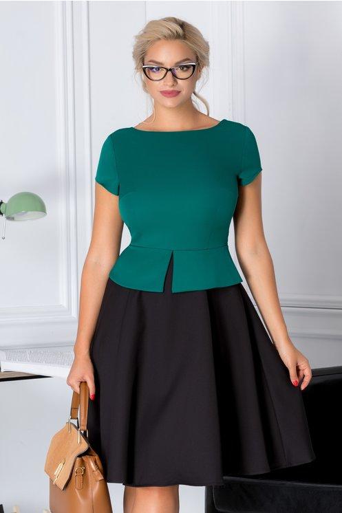 Rochie Cleo cu peplum verde cu negru