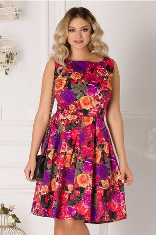 Rochie clos cu pliuri in talie si imprimeu cu trandafiri colorati
