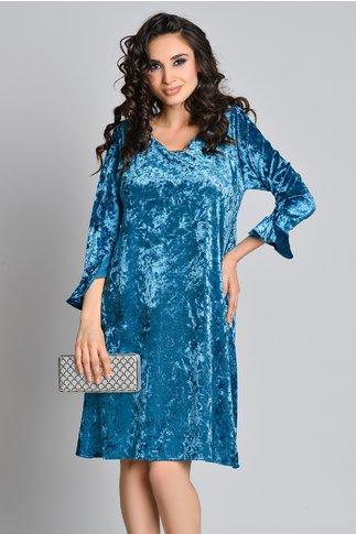 Rochie clos din catifea bleu cu maneci evazate