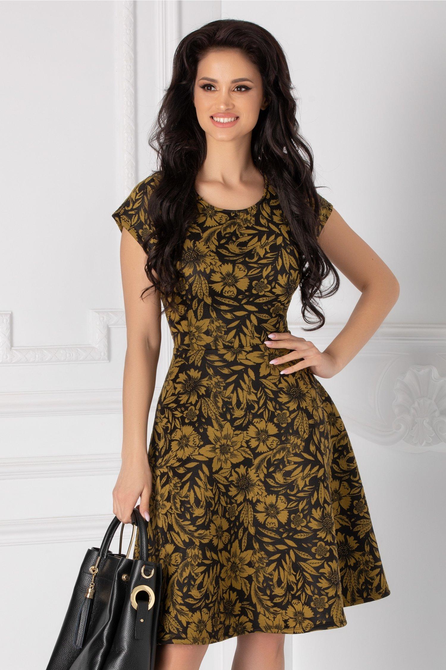 Rochie clos neagra cu broderie florala olive