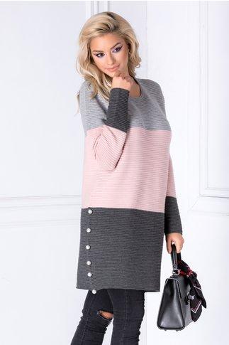 Rochie Cocco roz in dungi cu perle