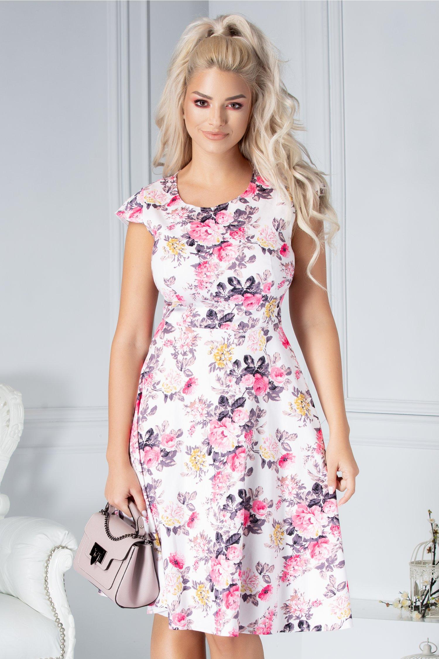 Rochie Coleen clos alba cu flori roz