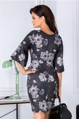 Rochie Coleen neagra cu flori gri