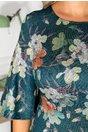 Rochie Coleen verde cu fir argintiu si imprimeu floral