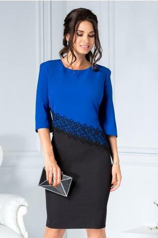 Rochie Consense midi office albastru cu negru cu broderie