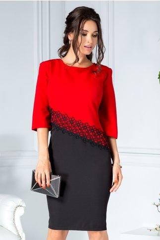 Rochie Consense midi office rosu cu negru cu broderie