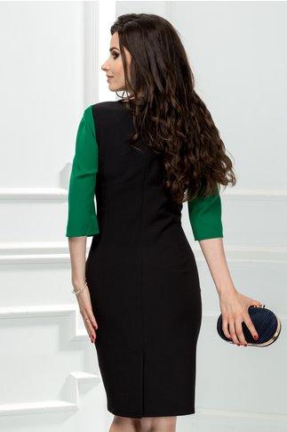 Rochie Consense midi office verde deschis cu negru