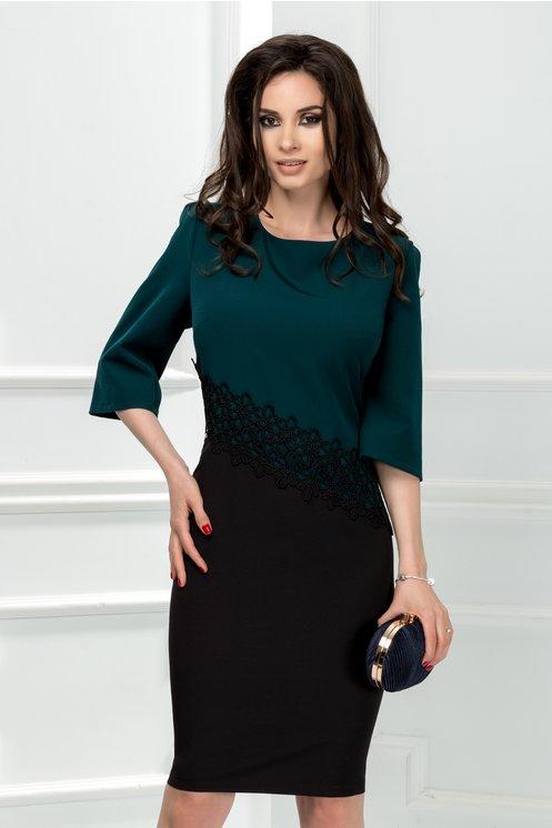 Rochie Consense midi office verde inchis cu negru