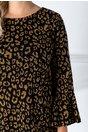 Rochie Cora neagra cu imprimeu galben si fir auriu