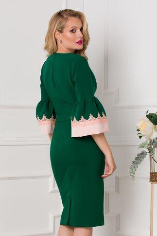 Rochie Cori verde cu manecile tip clopot