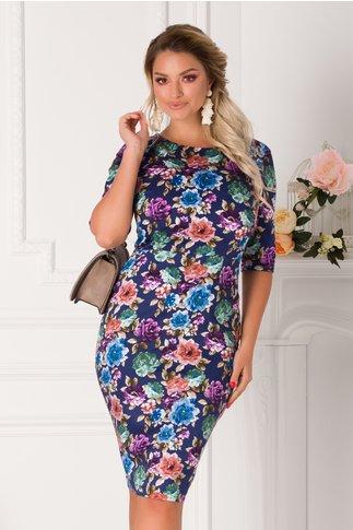 Rochie Corina bleumarin cu trandafiri colorati