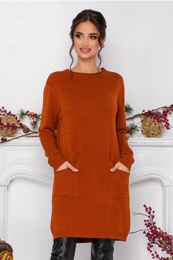 Rochie Corina caramizie din tricot cu buzunare