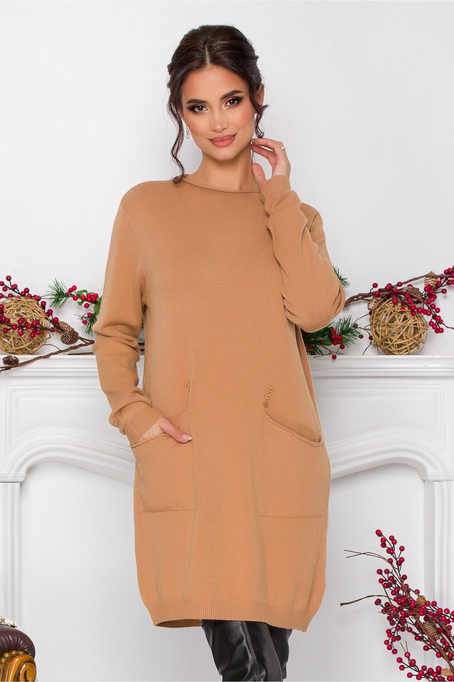 Rochie Corina crem din tricot cu buzunare