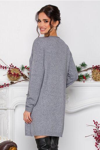 Rochie Corina gri din tricot cu buzunare