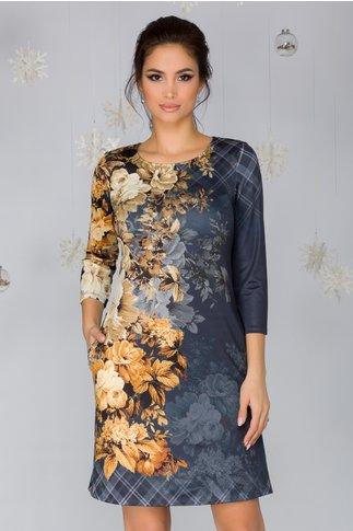 Rochie Cornelia bleumarin cu imprimeu floral in nuante de bej