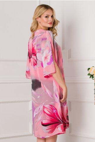 Rochie Cory lejera corai cu imprimeuri florale