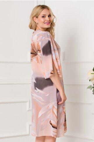 Rochie Cory lejera orange cu imprimeuri lila