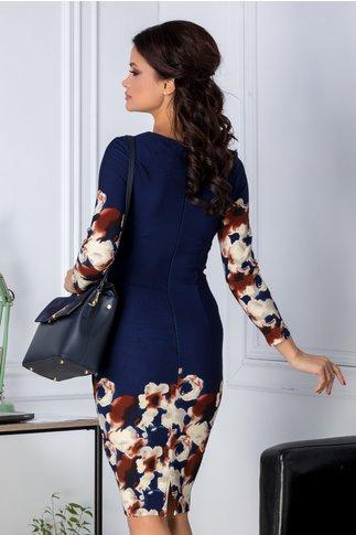 Rochie Cosmy bleumarin cu imprimeu floral crem