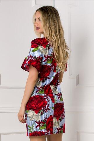 Rochie Crina cu dungi bleu si imprimeu floral rosu