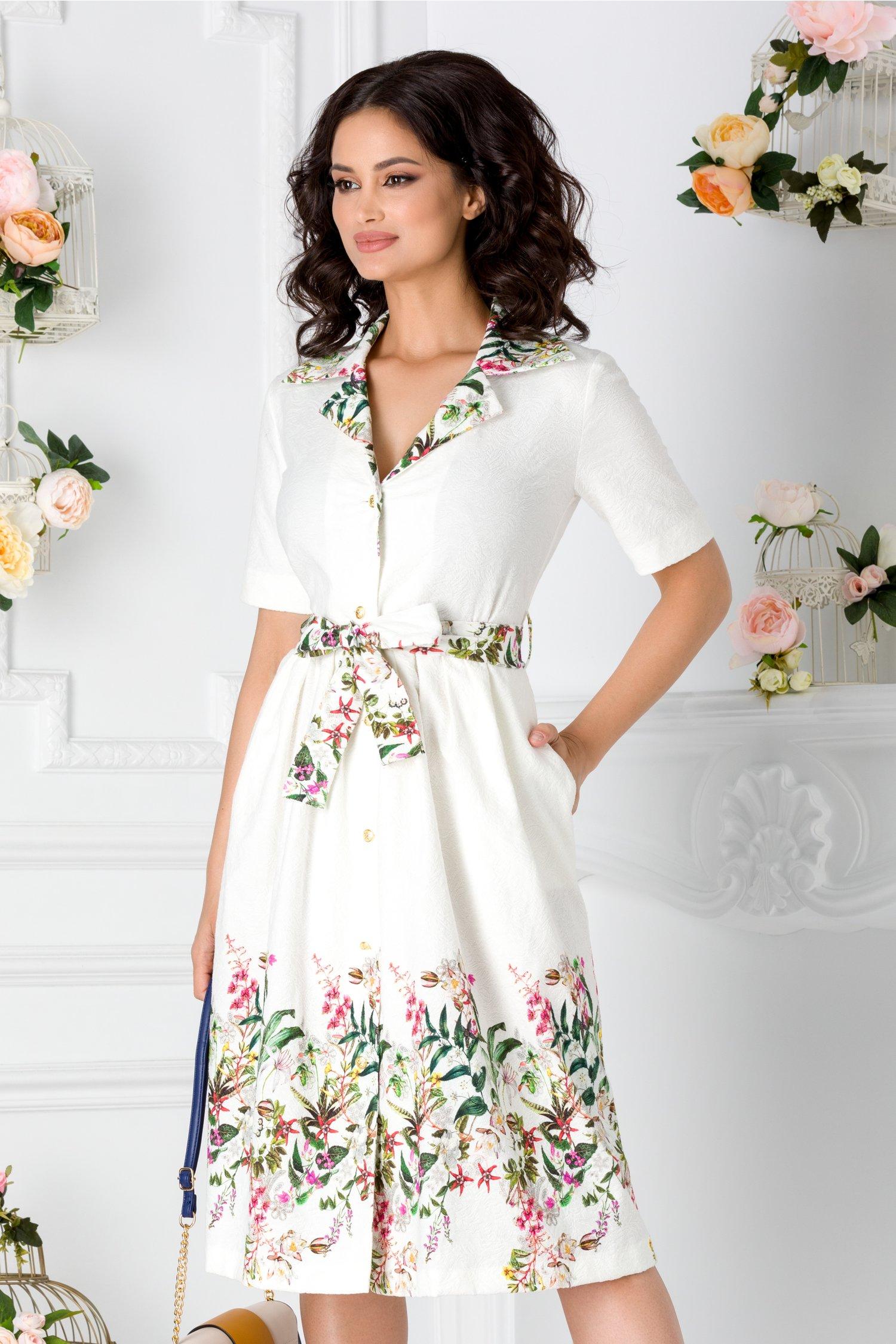 Rochie Crina ivoire cu imprimeu floral pastelat si cordon in talie