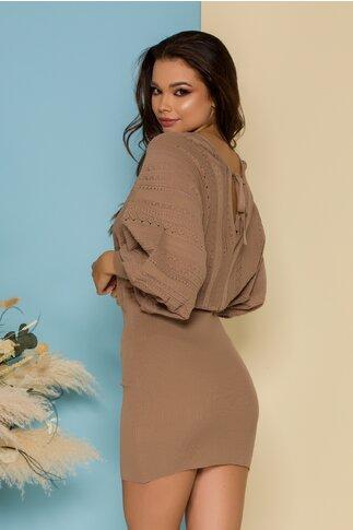 Rochie Crina maro camel din tricot