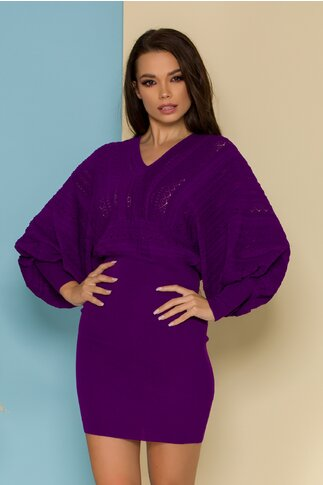 Rochie Crina mov din tricot