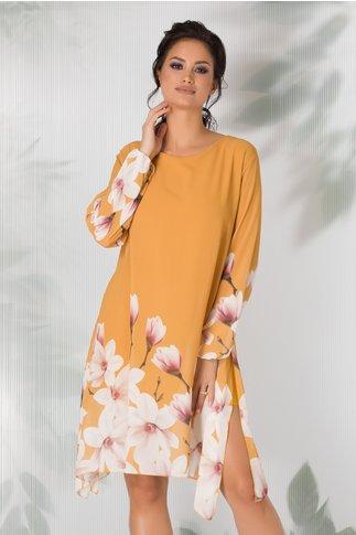 Rochie Criss galben mustar vaporoasa cu imprimeu floral la baza