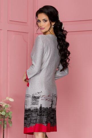 Rochie Criss gri cu imprimeu rosu city