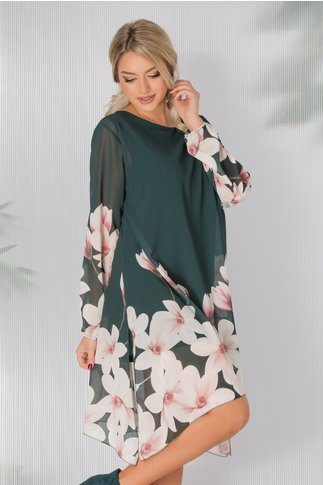 Rochie Criss verde vaporoasa cu imprimeu floral la baza