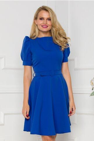 Rochie Cristina albastra accesorizata  cu curea in talie