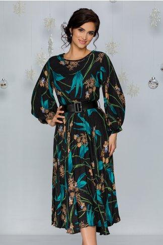 Rochie Cristina neagra cu imprimeu floral bej si turcoaz