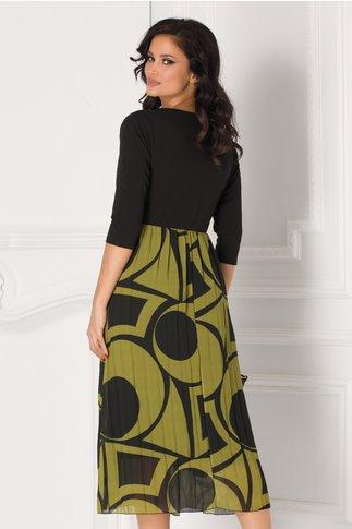 Rochie cu bustul negru si fusta kaki plisata