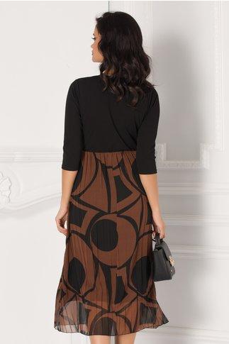 Rochie cu bustul negru si fusta maro plisata