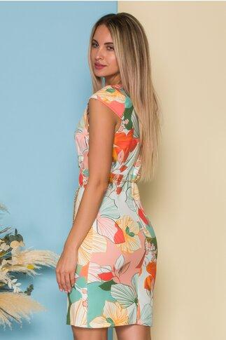Rochie cu imprimeu floral multicolor si lantisor in talie